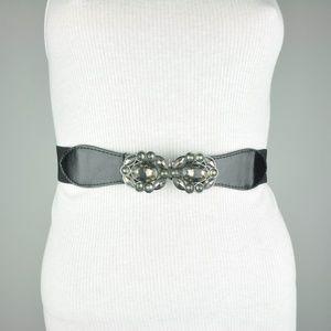 BCBG Black Faux Leather Metallic Belt
